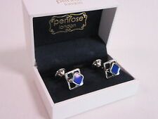 Penrose of London Designer Cufflinks Apollo Silver & Blue Enamel RRP £135 #CL32