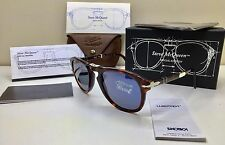 Authentic Persol Steve McQueen 714SM 24/56 Folding Sunglasses Havana Blue New 52