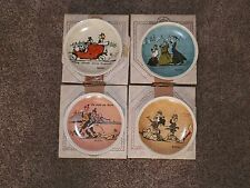 "4 Vintage NEWELL POTTERY Plates -""Rockwell on Tour"" England, Rome, Rhine, Paris"