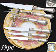 Antique PUIFORCAT French Sterling Silver 36pc Table Knife Set, Pompadour Pattern