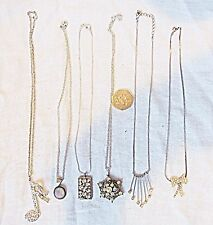 VINTAGE COSTUME NECKLACES 5 DIAMANTE 1 MOONSTONE BEAUTIFUL LOT COLLECTION