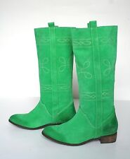 UK 6 Green Suede Leather Western / Cowboy Boots - 39