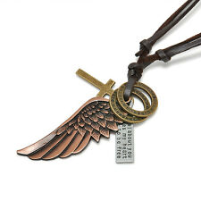 Men Women Retro Red Bronze Angel Wing Pendant Adjustable Leather Chain Necklace