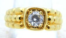 VTG Gold Tone LIND 14k HGE Clear Rhinestone Solitare Mens Ring Size 11.5
