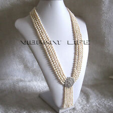 """27-31"""" 5-6mm White 4Row Freshwater Pearl Necklace With Tassel A-20 U"""