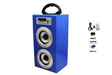 Altavoz Azul Caja Torre Bluetooth Radio FM SD Para Móviles Tablets