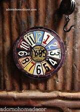 Metal Round License Plate Wall Clock Round Industrial Distressed Rustic Vintage