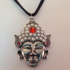 Figural Pendant Necklace Oxidized Silver & Faux Pearl Red Stone Boho Chic 3F