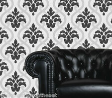 Black, Grey & White With Silver Glitter, Damask Design, Blown Vinyl Wallpaper
