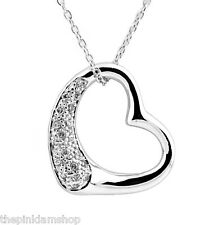 "Sparkling 925 Sterling Silver CZ Open Heart Charm Pendant Necklace w 16"" Chain"