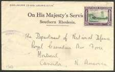 British Southern Rhodesia To Canada Cover 1940 w 1 Stamp L@@K