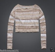 NWT HOLLISTER GILLY HICKS WOMENS GOLD SHIMMER STRIPE CROPPED SWEATER TOP MEDIUM