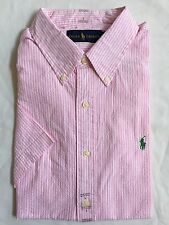 NWT Mens Polo Ralph Lauren Classic Fit SS Cotton Dress Shirt Pink White - Large