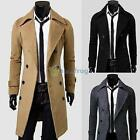 Fashion Men Double Breasted Coat Wool Long Slim Fit OverCoat Jacket Trench Coat
