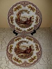 4 Victorian English Pottery Thanksgiving Pheasant Woodland Dinner Plates England