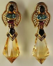 Baten 18K Yellow Gold Citrine Diamond Onyx Topaz Tourmaline Sapphire Earrings