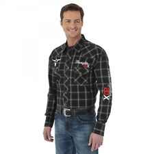 Wrangler Mens 20X Steer Logo Black Plaid Western Snap Shirt *NWT* XLarge