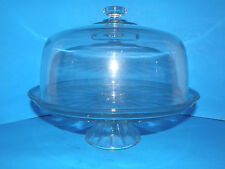 "HAVE YOUR CAKE & PUNCH TOO! 11"" CAKE STAND WITH DOME IN HEAVY GLASS- PUNCH BOWL"