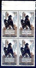 ITALIA 1954 - DECENNALE RESISTENZA  QUARTINA NUOVA **