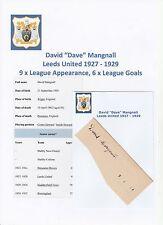 Dave Mangnall leeds united 1927-1929 très rare original hand signed coupe/carte