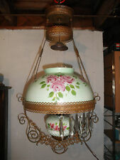 Antique Victorian Brass Hanging Oil Lamp HAND Painted Shade/Font w/Prisms