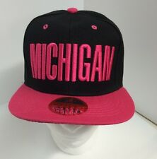 Michigan Black And Pink Snapback Baseball Hat  New Adult