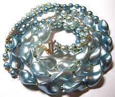 Pretty VINTAGE 1950s 3 Row Large Faux Pearl BLUE BEAD Choker Jewellery NECKLACE