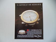 advertising Pubblicità 1990 OROLOGIO PAUL PICOT LE CHRONOGRAPHE