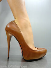 MORI ITALY PLATFORM HIGH HEELS PUMPS SCHUHE SHOES REAL LEATHER BROWN MARRONE 41