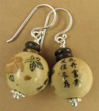 Chinese ceramic earrings. Brown. Chinese characters. Sterling silver 925.