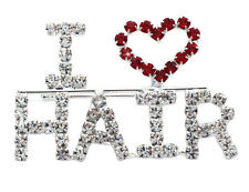 I LOVE HAIR Word Letter Heart Hairdresser Brooch Pin Beauty Salon Jewelry p46c