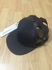 NEW! £282 RICK OWENS Black Cut Out Snapback Panel Hat Leather Cotton Cap Drkshdw