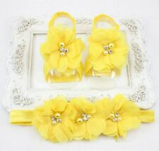 1set Baby Golden Chiffon Pearl Rhinestone Headband Foot Flower Elastic Hair Band