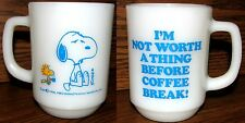 """Vintage Snoopy Cup Anchor Hocking Fire King """"I'm Not…Before Coffee Break"""" RARE"""