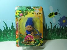 "2001 TOTALLY TROLL CLIP ON - 3"" Dam Norfin Troll Doll - NEW IN PACKAGE - Blue"