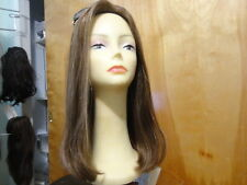 Malky Wig Sheitel Remy Human Hair Wig Medium Brown& Highlights Scalp 14-8