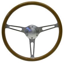 SAAS Genuine Wood Grain Classic Steering Wheel Brushed with Slots 375mm NEW