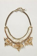 Nip Anthropologie Gaura Chunky Floral Statement Bib Necklace Flowers Lace