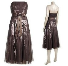 Monsoon Godiva Brown Strapless Sequin Dress 12 Wedding PROM Cruise