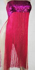 Fashion Stripper Solid Color Hanging Sequin Long Fringe Tassel Tube Top Dress OS