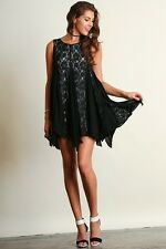 UMGEE Little BLACK Ruffles & Lace Party/Cocktai/Event Swing Dress L SASSY SKY