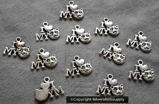 12 I love my cat jewelry pendant charms ant silver plated zinc findings cfp005