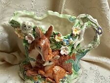 Fitz & Floyd Woodland Spring Pitcher -  Deer Doe & Fawn Bunny Owl Flowers Birds