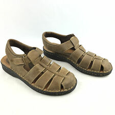 Minnetonka Women's Myke Brown Leather Fisherman Closed Toe Sandals Size 10 M