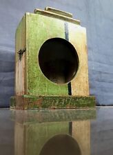 VINTAGE INDIAN ART DECO CLOCK BOX. JADE AND CAPPUCCINO. SMALL DISPLAY CABINET.