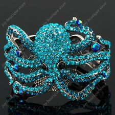 Blue sapphire Rhinestone Crystal marine Octopus fashion bangle Bracelet Cuff