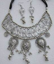 Handmade Bib Choker Statement Necklace Vintage Silver Tribal Boho Gypsy Jewelry