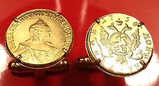 1756 Imperial Russian Catherine the Great Russia Gold Rouble Coin Cufflinks +Box