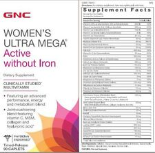GNC Women's Ultra Mega Multivitamin Active without Iron, 90 Caplets