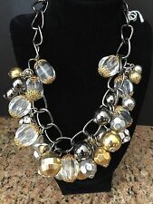 JOAN RIVERS CHUNKY LUCITE NECKLACE CLEAR & GOLD W/ SILVER ADJUSTABLE CHAIN